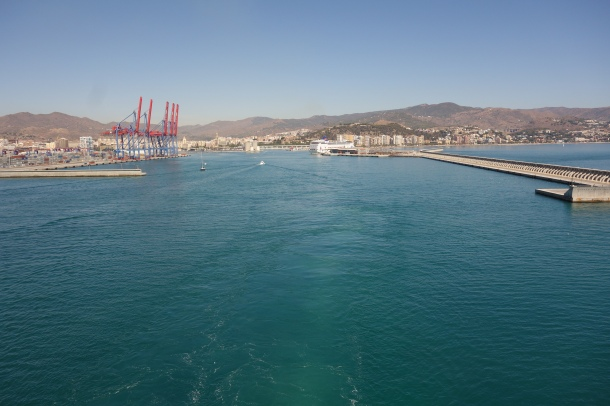 As our final port before disembarking in Savona, Italy, we watch Malaga fade away from the top deck.